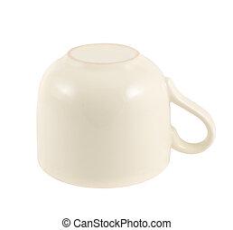 Ceramic cream colored cup isolated - Ceramic cream colored...