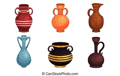 Ceramic Crockery Vector Illustrations Set. Ancient Clay Jars and Vases