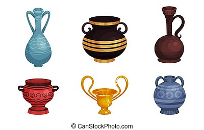 Ceramic Crockery Vector Illustrations Set. Ancient Clay Jars and Vases.
