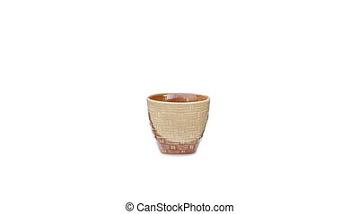ceramic cup rotation on isolated white
