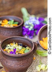 Ceramic cups of healthy herbal teaCeramic cups of healthy herbal tea