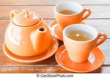 Ceramic cups of hot tea
