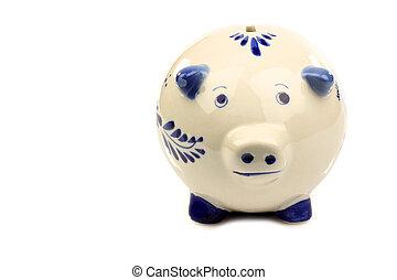 Delft blue and white piggy bank