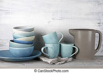Ceramic dishware set - Simple rustic handmade crockery...