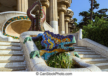 ceramic dragon fountain at Parc Guell