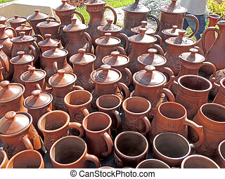 Ceramic earthenware pots and mugs