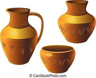 ceramic., ensemble, pot., céramique, ethnique, ornament., pottery.