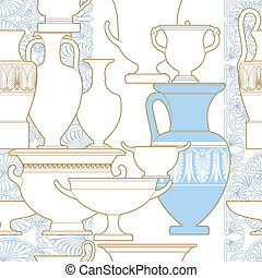 Ceramic Ethnic national Greek style seamless pattern -...