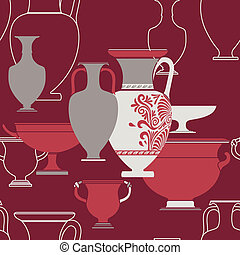 Ceramic seamless pattern. Ethnic national Greek style background