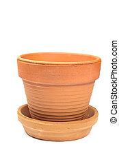 Ceramic flower pot isolated on white background