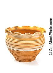Ceramic flower pot isolated on white