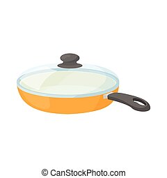Ceramic frying pan with glass lid icon
