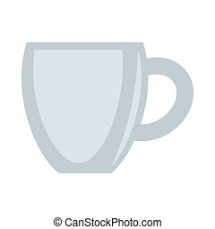 Ceramic grey cup vector illustration isolated on white background.