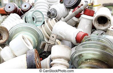 ceramic insulators in an old dump obsolete material and...