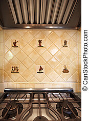 Ceramic Italian Tiles and stove close up