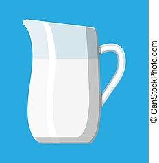 Ceramic jug with milk isolated on blue.