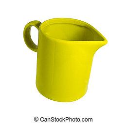 Ceramic mug with milk spout empty green