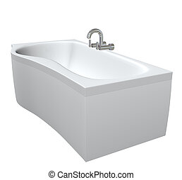 Ceramic or acrylc bath tub set with chrome fixtures and faucet, 3d illustration, isolated against a white background