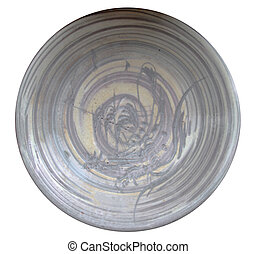 Ceramic plate isolated on white background.