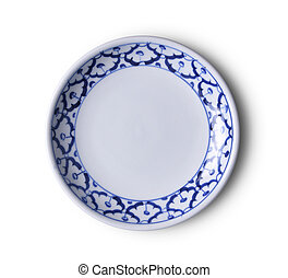 ceramic plate on white background. top view