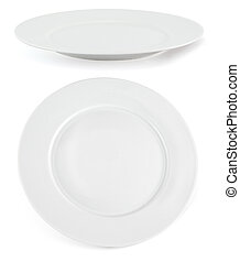Ceramic plate over white, set of two