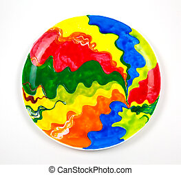 Ceramic plate round shape hand-painted with bright colors isolated on white background Abstract pattern