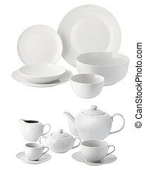 ceramic plates and cups - one set of dinner service in white...