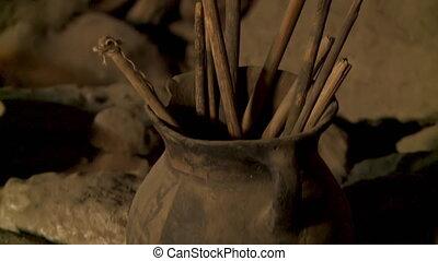 Ceramic Pot In Cemetery Cave, Altiplano , Bolivia - Close-up...