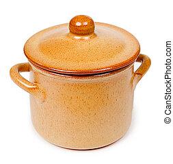 Ceramic pot isolated on white background