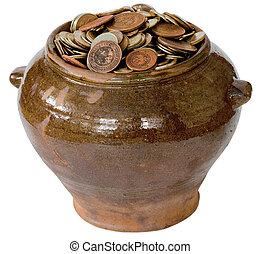 Ceramic pot with metal vintage money - Brown ceramic pot...