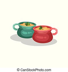 Ceramic pots of onion soup, delicious dish of French cuisine...