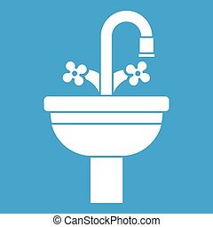 Ceramic sink icon white isolated on blue background vector ...