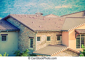 Ceramic Slates House Roof Closeup.