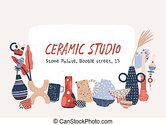 Ceramic studio products hand drawn vector banner template. Porcelain home decor accessories. Modern handcrafted pottery drawing with handwritten text. Handmade vases, crockery and candlesticks