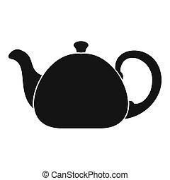 Ceramic teapot icon, simple style