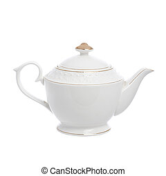 ceramic teapot, isolated on white background