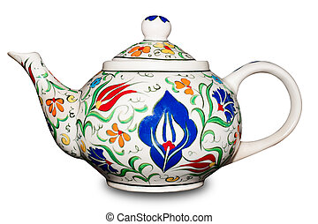 ceramic teapot on white background