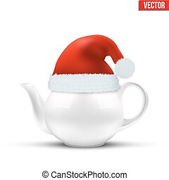 Ceramic teapot with Christmas hat of Santa