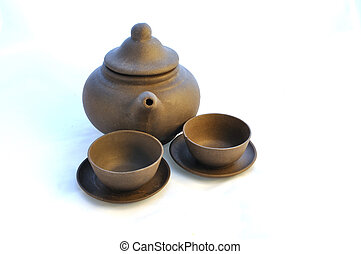 Ceramic teapot with cups