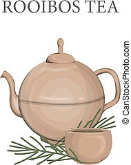 Ceramic teapot with rooibos tea and cup full of hot drink. ...