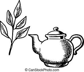 Ceramic teapot with tea leaves