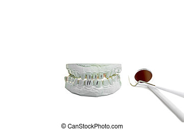 Ceramic teeth model with dental tools isolated in white background.