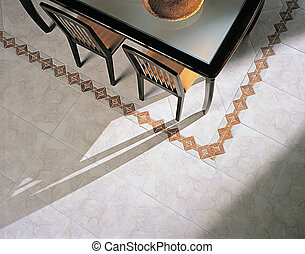 ceramic tile floors in the dining r