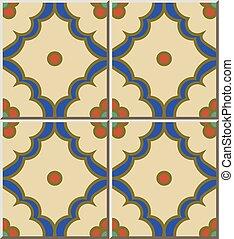 Ceramic tile pattern curve check cross blue frame round flower