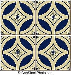 Ceramic tile pattern navy blue round cross frame flower