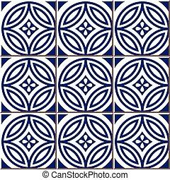 Ceramic tile pattern of blue round cross flower