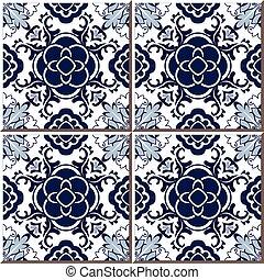 Ceramic tile pattern of blue round flower cross kaleidoscope