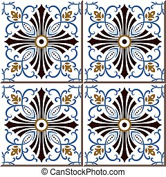 Ceramic tile pattern of blue sprial vine brown cross line