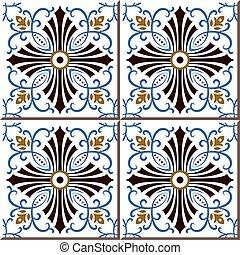 Ceramic tile pattern of blue sprial vine brown cross line