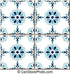 Ceramic tile pattern of elegant blue round cross flower.